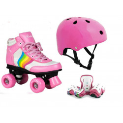 PACK CASCO + PROTECCIONES + PATINES RAINBOW